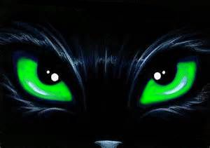 Zoomed in Painting of a black cat face with green eyes