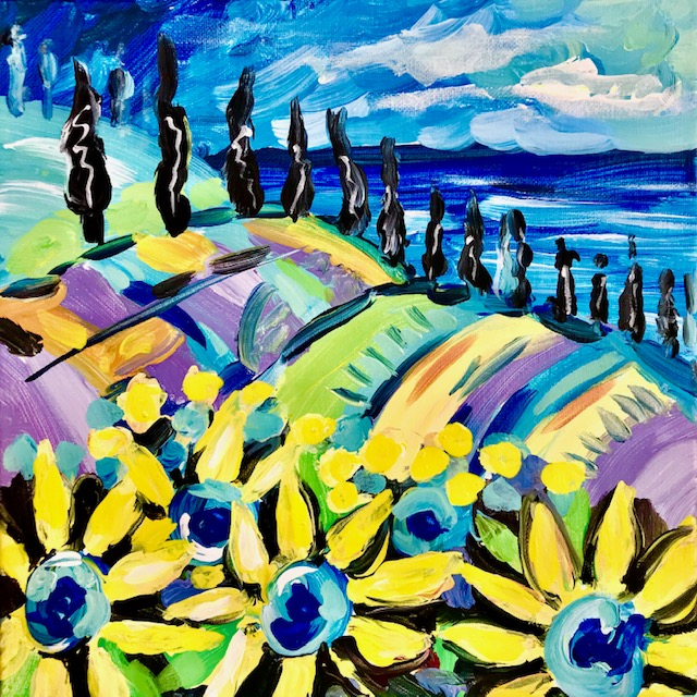 Impressionistic painting of a blue field with sunflowers.