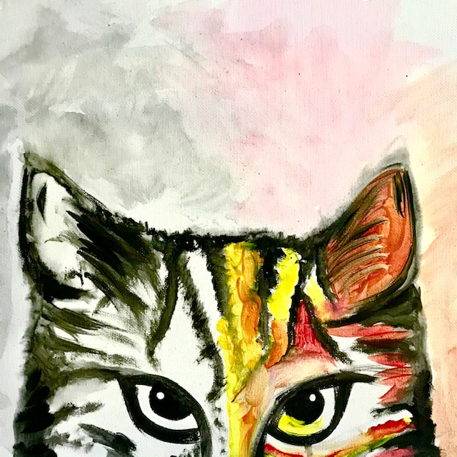 Painting of a cat with rainbow colors
