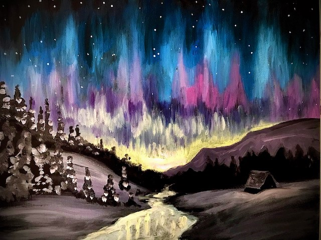A painting of Aurora Borealis
