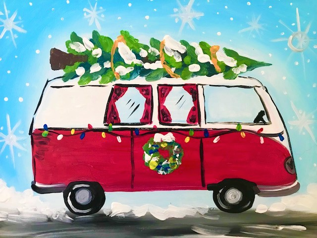 Painting of a VW bus driving through the snow with a Christmas tree attached to the roof.