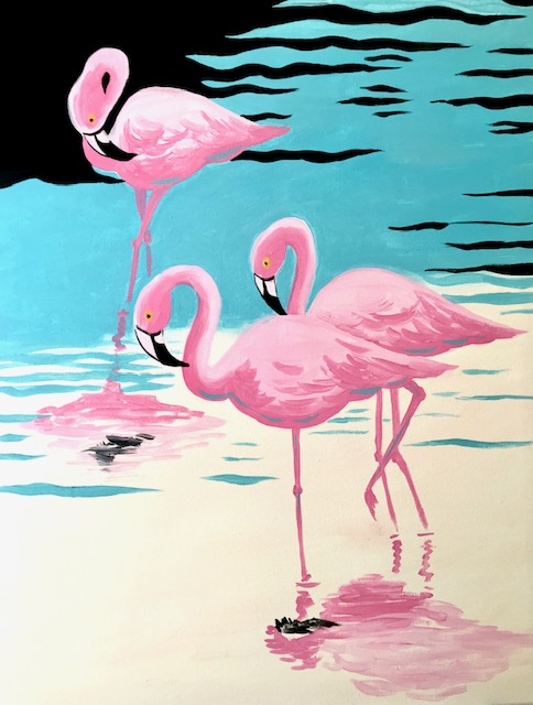 Painting of pink flamingos