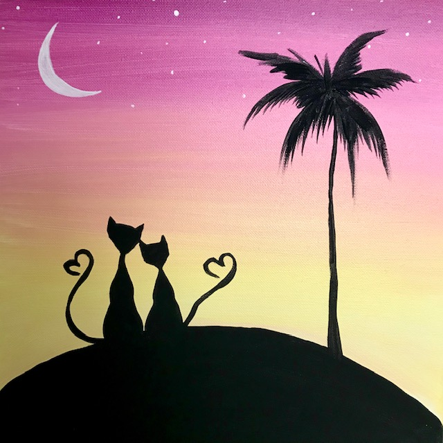 Painting of two cats at sunset in love.