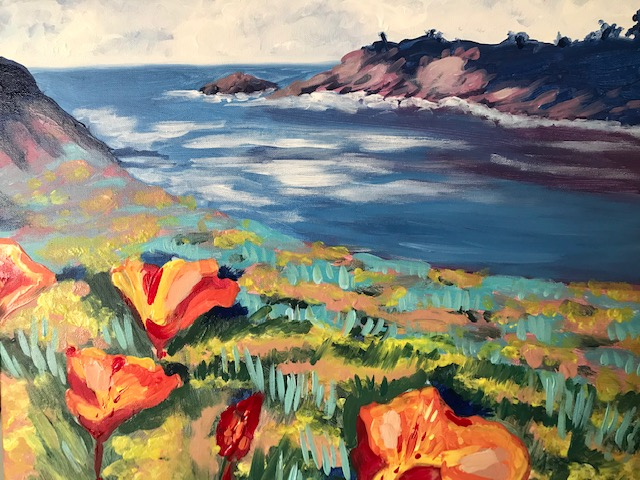 Painting of California's coast with poppy feilds.