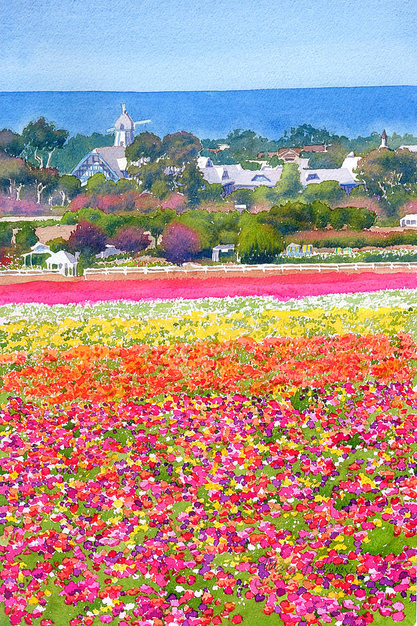 Painting of the Carlsbad, CA flower fields