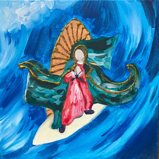 Painting of the surfing madonna