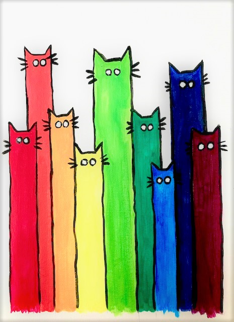 Abstract painting of tall long cats all different colors of the rainbow.