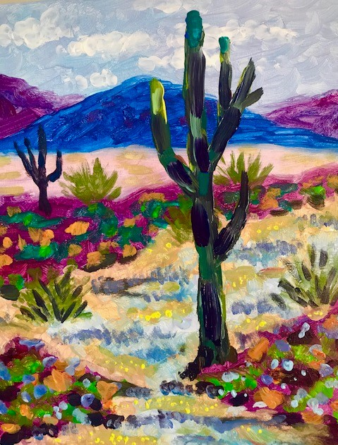 Painting of the desert during spring bloom.