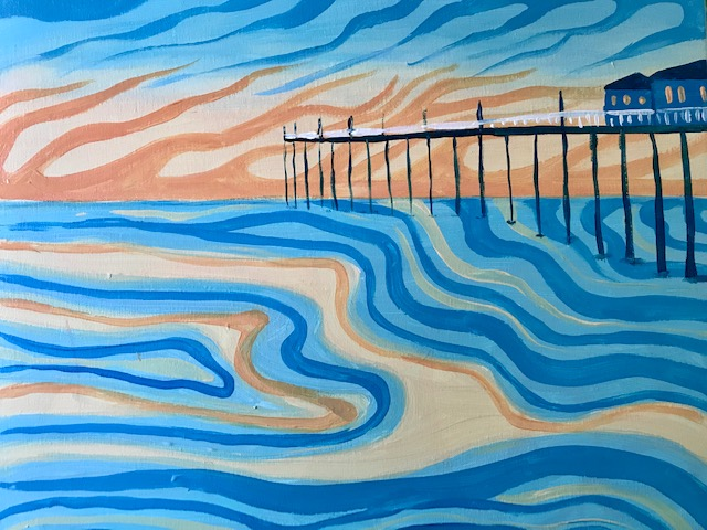 Painting of the famous Crystal Pier in Pacific Beach, CA.