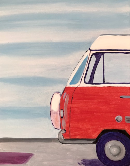 Painting of a Volkswagen Bus at the beach.