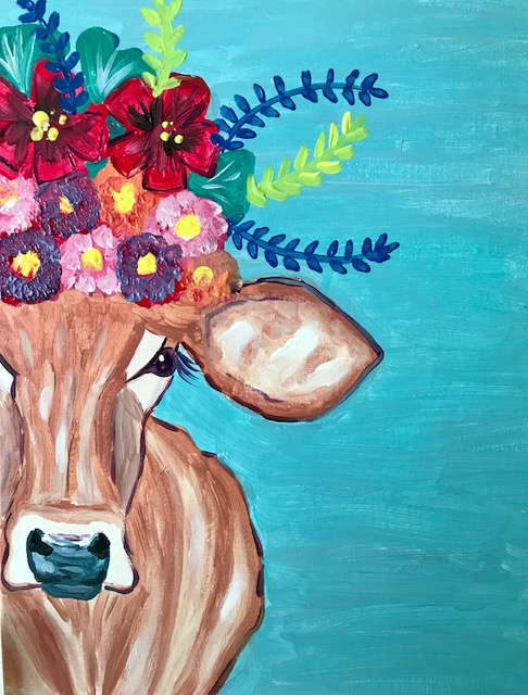 Painting of a cow's head adorned with a flower crown