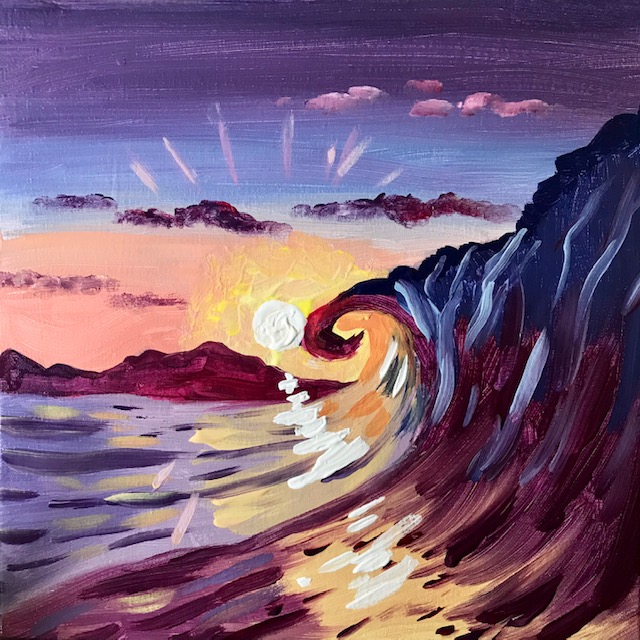 Painting of a purple wave with an orange sunset.