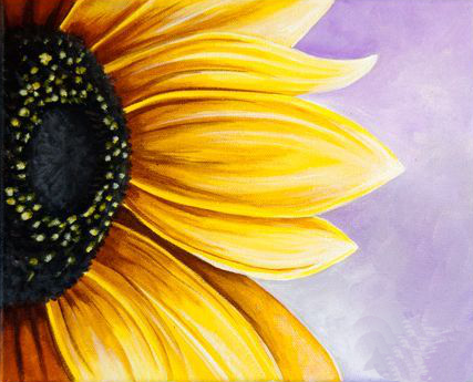Painting of a sunflower zoomed in.