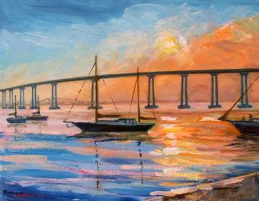 Painting of the Coronado Bridge in San Diego, CA.