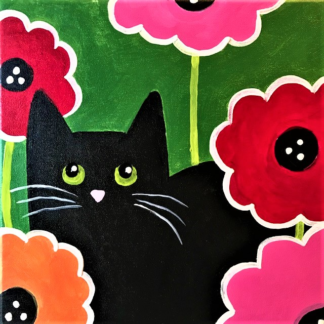 Painting of a black cat sitting in spring flowers.