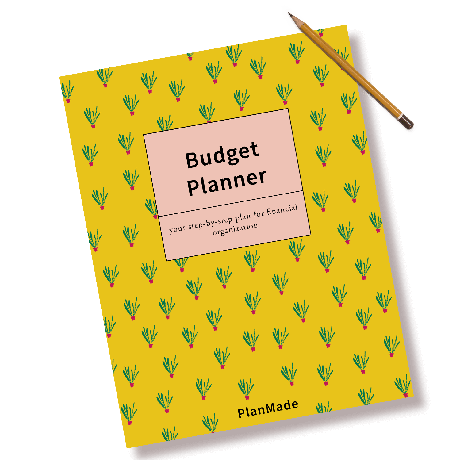 of planmade budget planner cover with pencil to the side