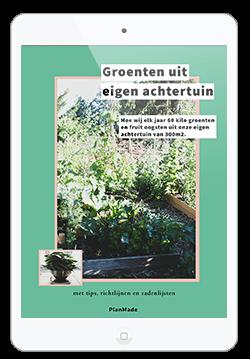 afbeelding van witte tablet met de cover van de 'groenten uit eigen tuin' gids zichtbaar op het scherm.