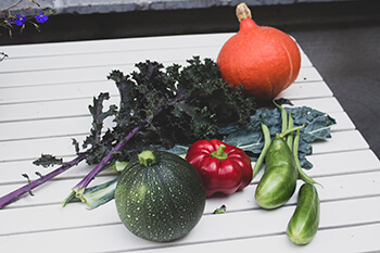 photo of different vegetables freshly harvested laying on a white wooden outdoor table. Harvest includes small round courgette/zucchini, a bell pepper, red curly kale, some French beans, a small orange pumpkin, a a leaf of cavallo nero kale and two small cucumbers.