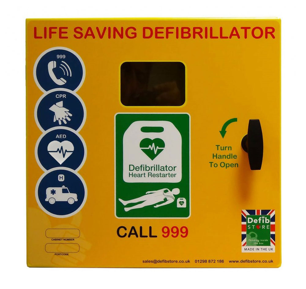 Defib Store 1000 Mild Steel Cabinet Unlocked with Heater and LED Light
