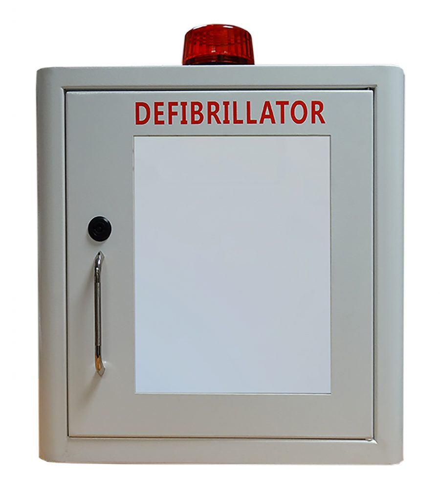 Indoor White Defib Store with Strobe Light & Alarm Unlocked