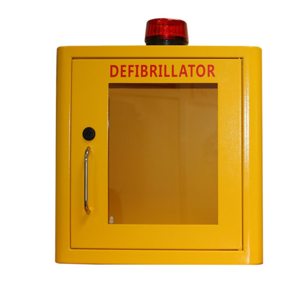 Indoor Yellow Defib Store with Strobe Light & Alarm – Locked