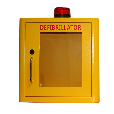 Indoor Yellow Defib Store with Strobe Light & Alarm – Unlocked