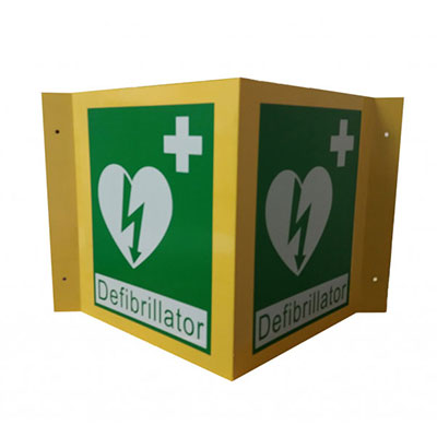 3D Defibrillator Green & Yellow Wall Sign