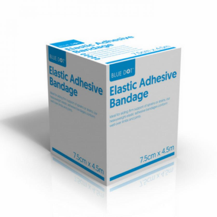 Blue Dot Elastic Adhesive Bandage 7.5cm x 4.5m (EAB) Boxed