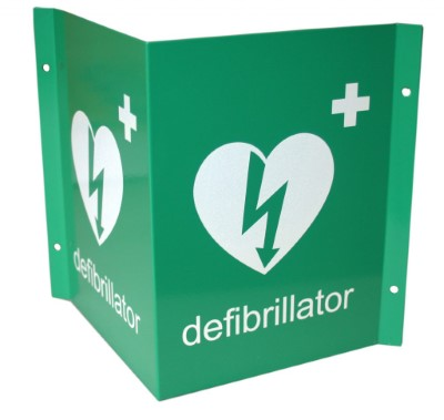 3D Defibrillator Green Wall Sign