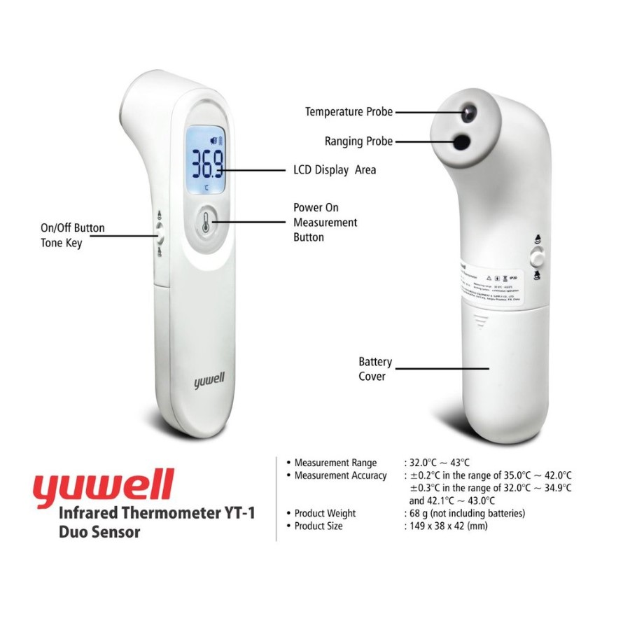 YT-1 Non-Contact Infrared Forehead Thermometer