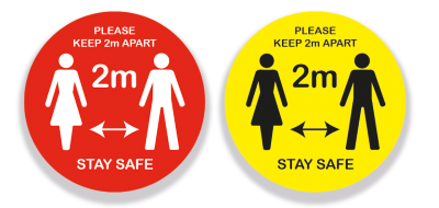 Keep 2 Metres Apart - Vinyl Sticker with Anti-Slip Coating(Pack of 5)