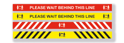 Please Wait Behind This Line Floor Sticker - Vinyl Sticker with Anti-Slip Coating(Pack of 5)