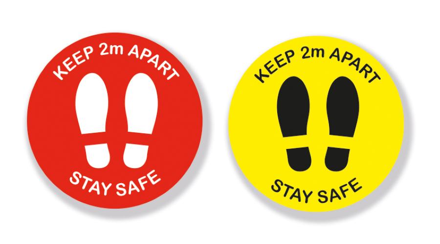 Keep 2 Metres Apart Footprints - Vinyl Sticker with Anti-Slip Coating(Pack of 5)