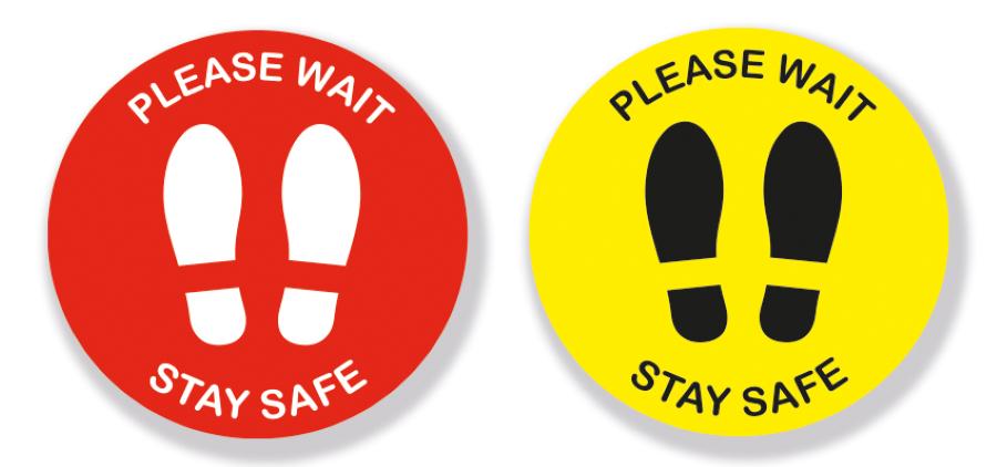 Please Wait Footprints - Vinyl Sticker with Anti-Slip Coating(Pack of 5)