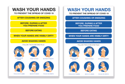Wash Your Hands A4 Sign - Vinyl Sticker(Pack of 5)
