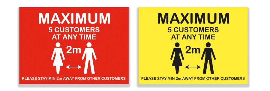 Maximum Customers A4 Sign - Vinyl Sticker(Pack of 5)