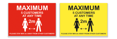 Maximum Customers A4 Sign - Vinyl Sticker(Pack of 5)