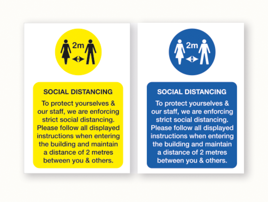 Social Distancing A4 Entrance Sign - Vinyl Sticker(Pack of 5)