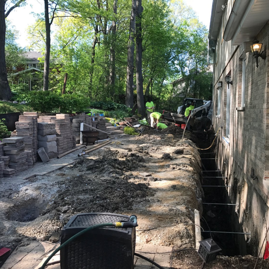 foundation repair project underway in tinley park