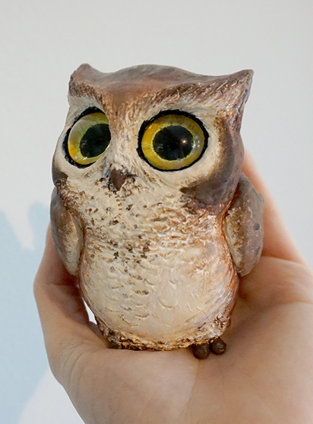 Big eyed owl sculpt by Alisha Rosen