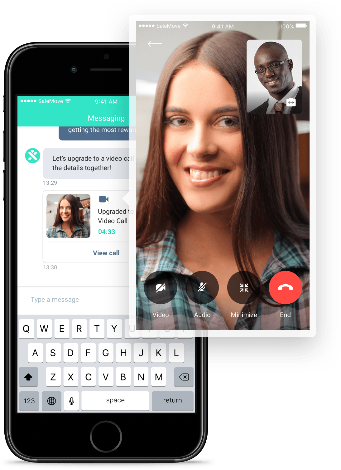 Digital in-app video call interface
