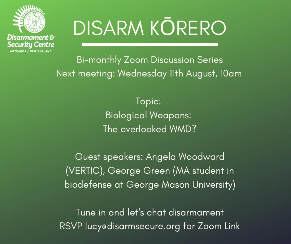 Disarm Kōrero #8 Biological Weapons