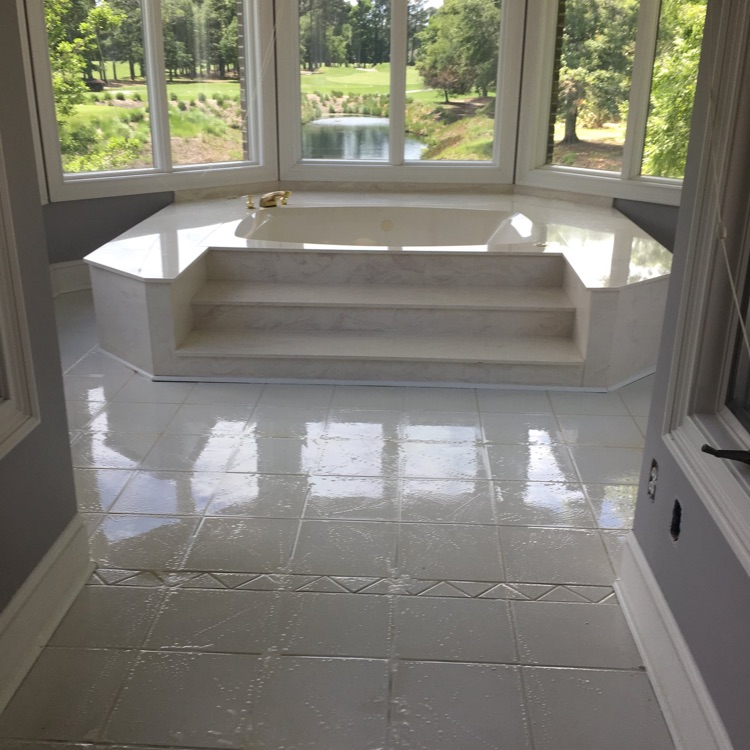 tile and grout cleaning project in a luxury home