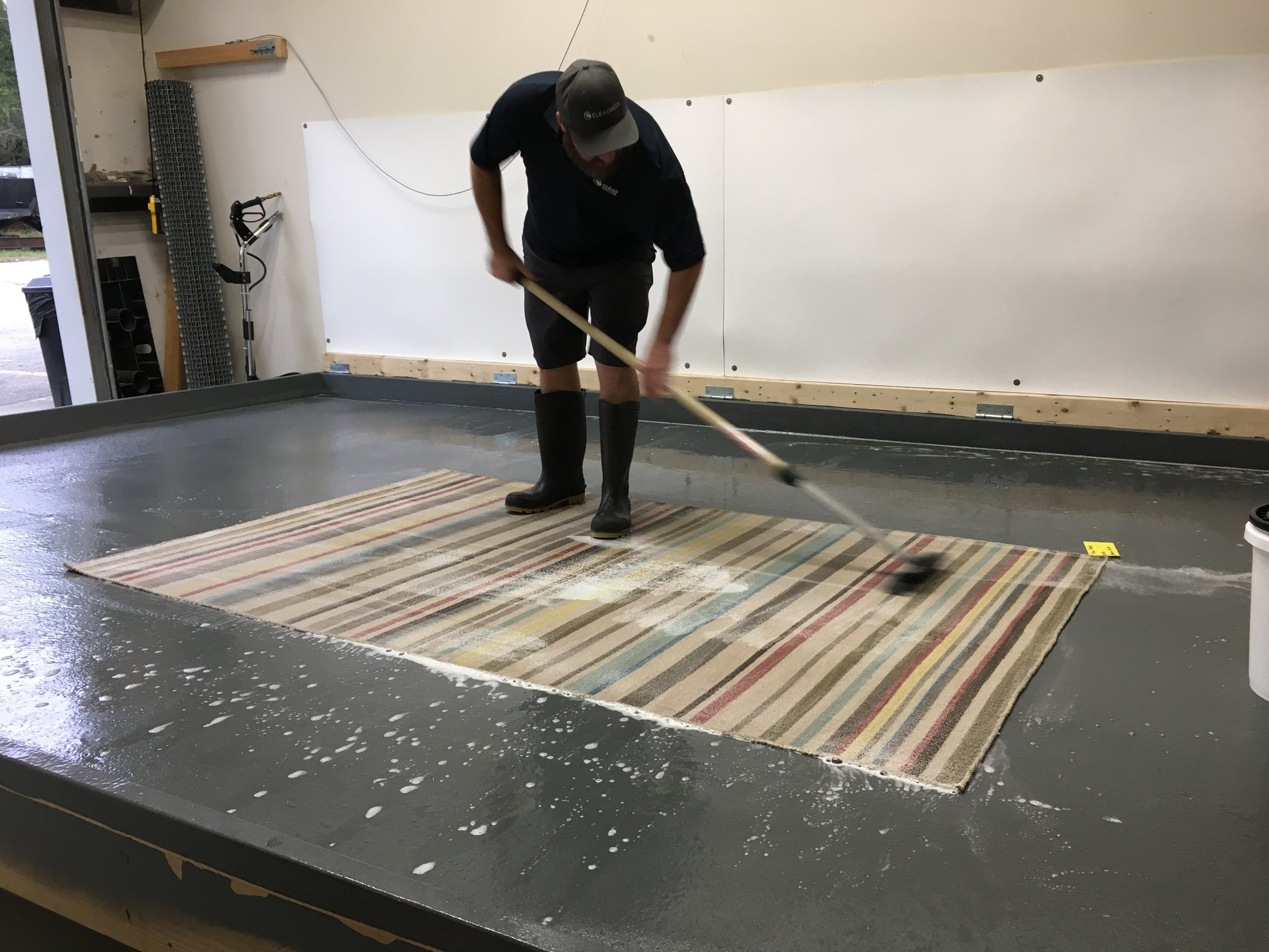 clear water carpet technician cleaning area rug