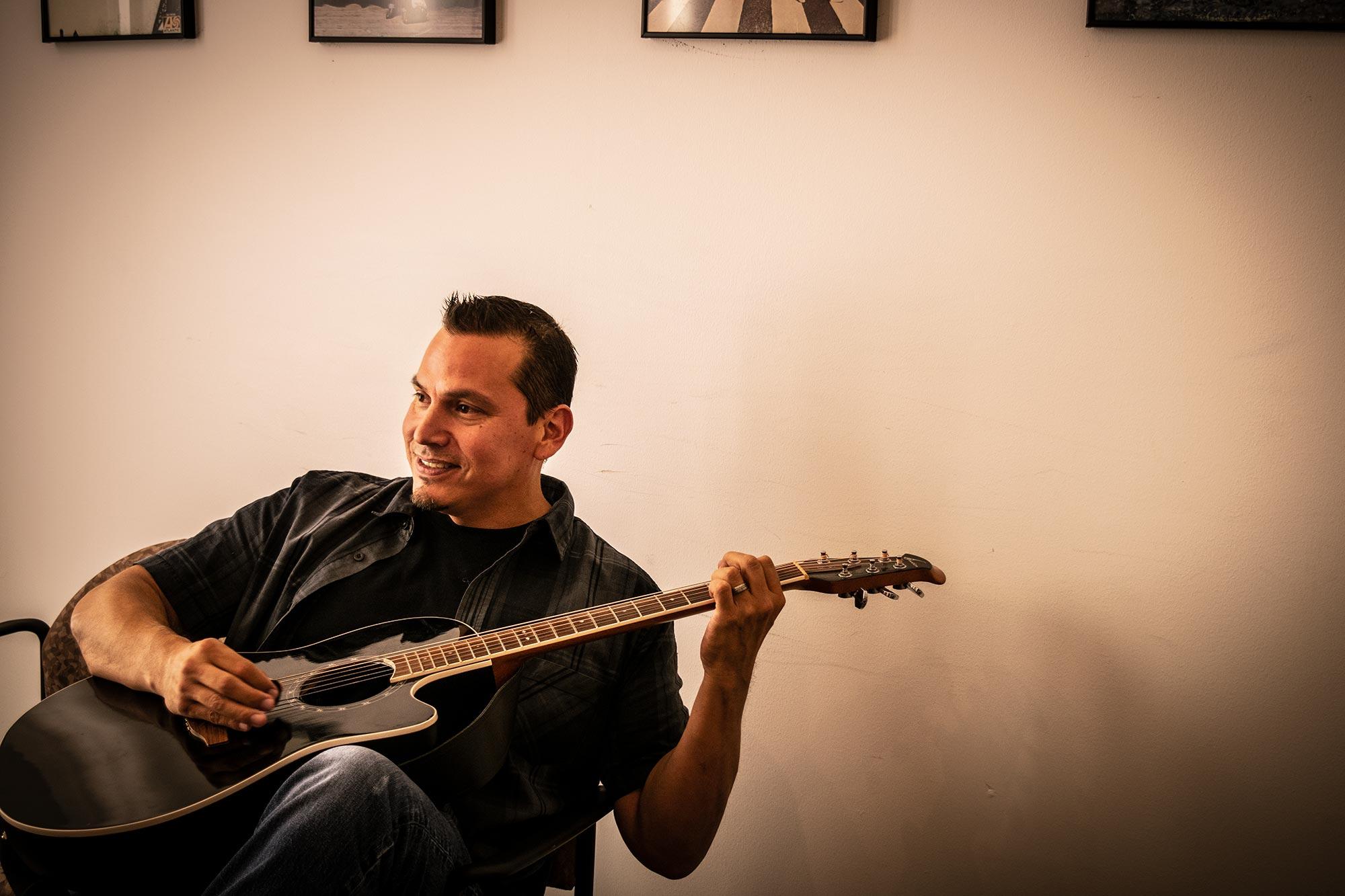 drew mangels office guitar