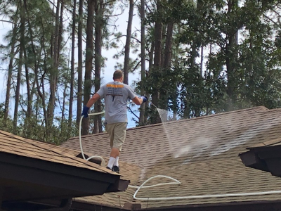 shingle cleaning project with soft spray