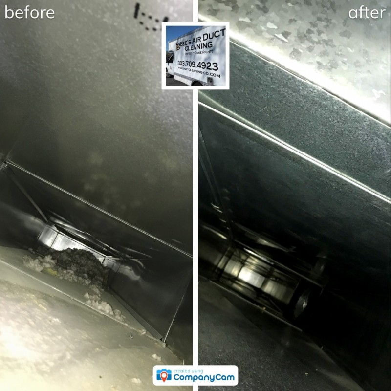 before and after air duct cleaning project in fort collins