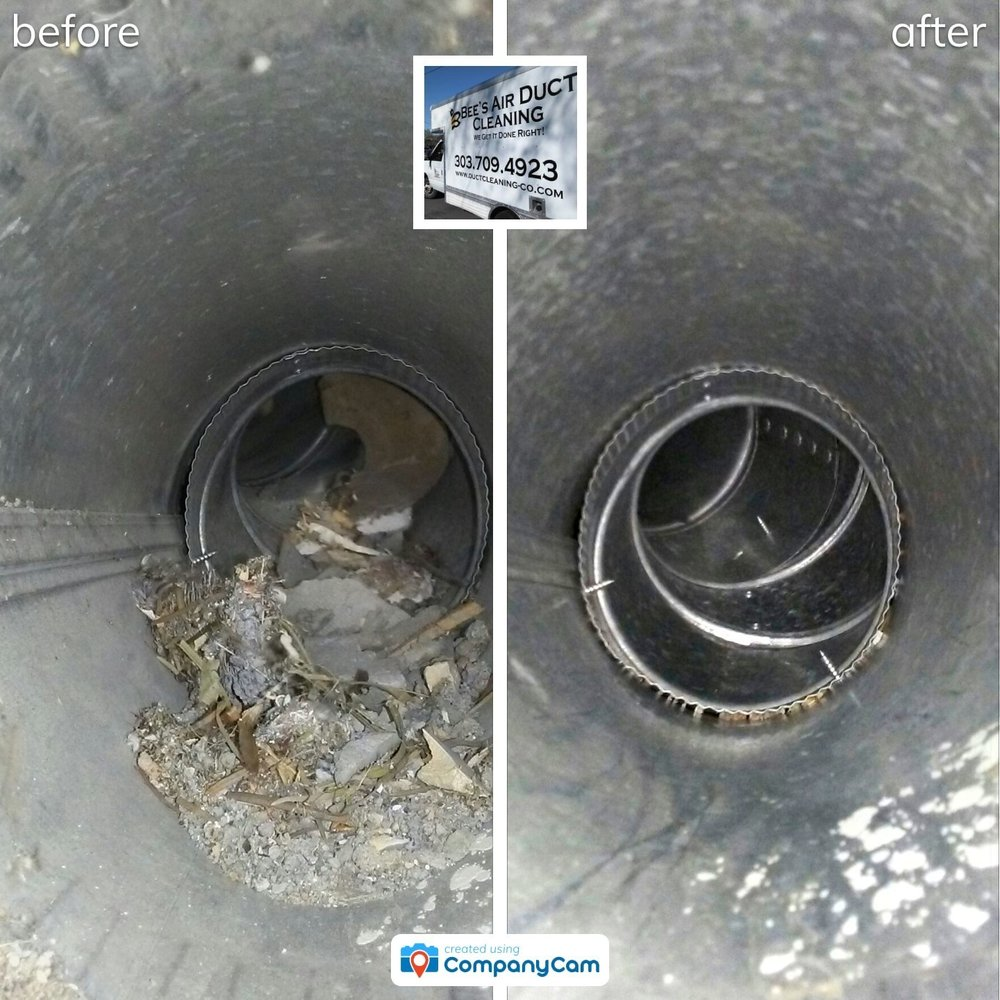 bee's air duct cleaning provides before and after photos for clients in longmont co