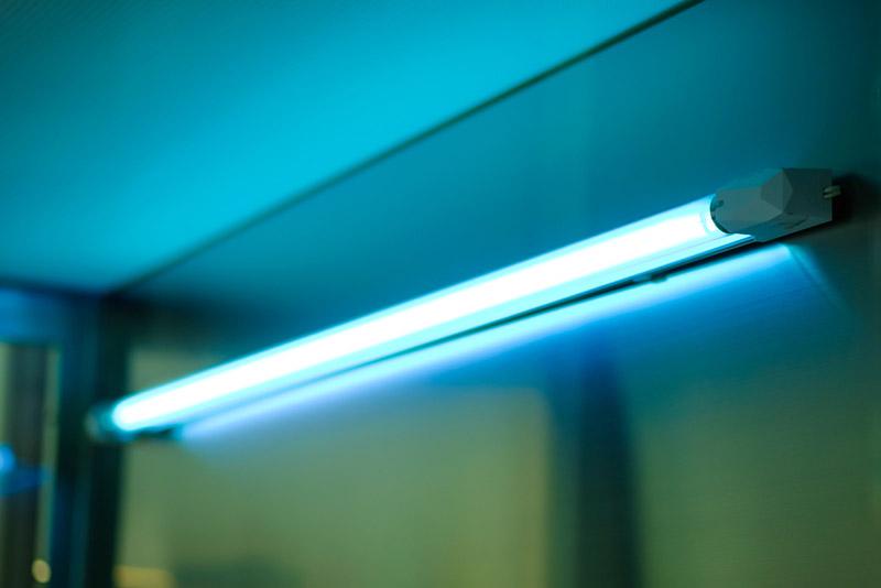 uv light installed on side of HVAC vent
