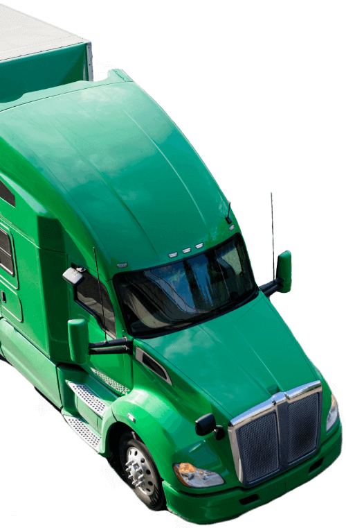 Green isolated semi truck